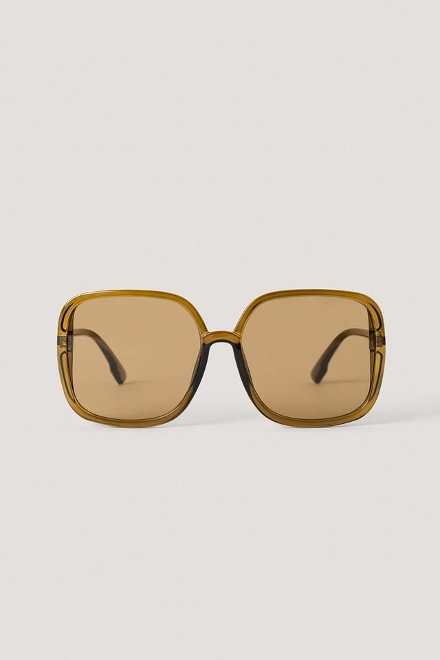 Oversize Square Retro Sunglasses Brown