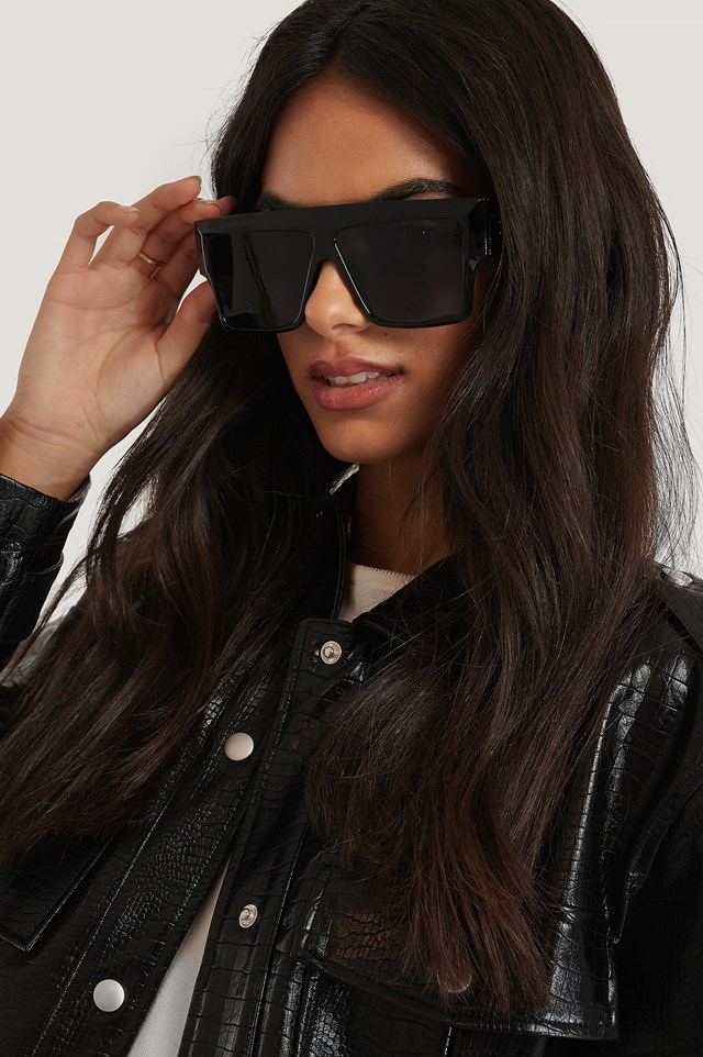 Oversize Wide Screen Sunglasses Black