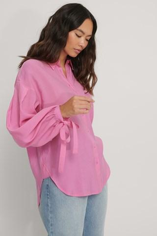 Pink Oversized Balloon Sleeve Shirt