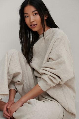Beige Melange Oversized Brushed Sweatshirt