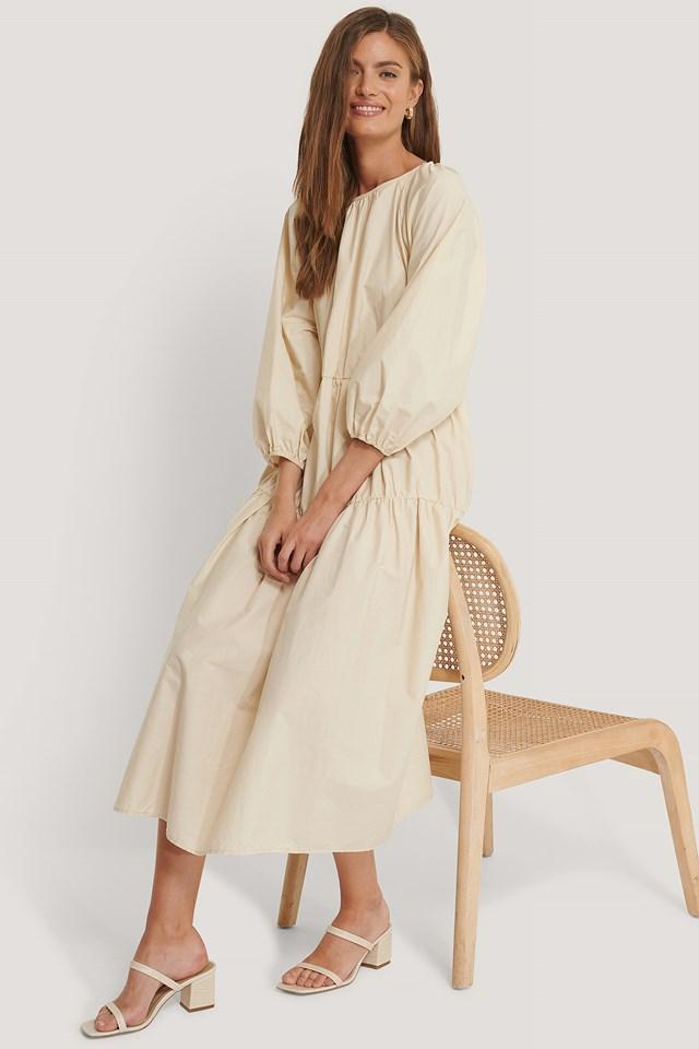 Oversized Cotton Dress Beige