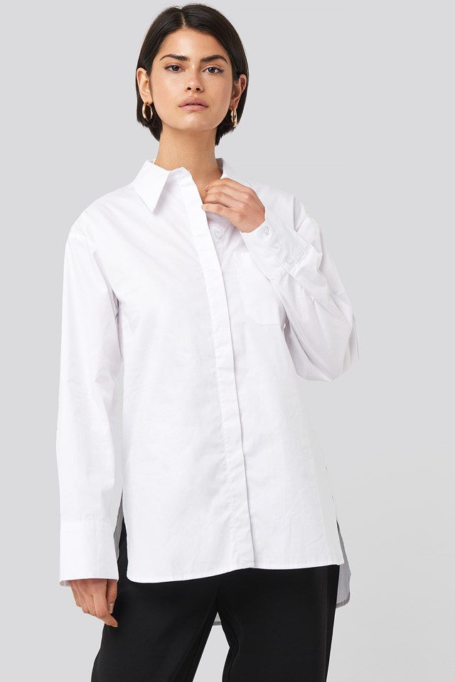 Oversized Cotton Pocket Shirt NA-KD Classic