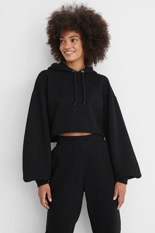 Black Oversized Cropped Hoodie