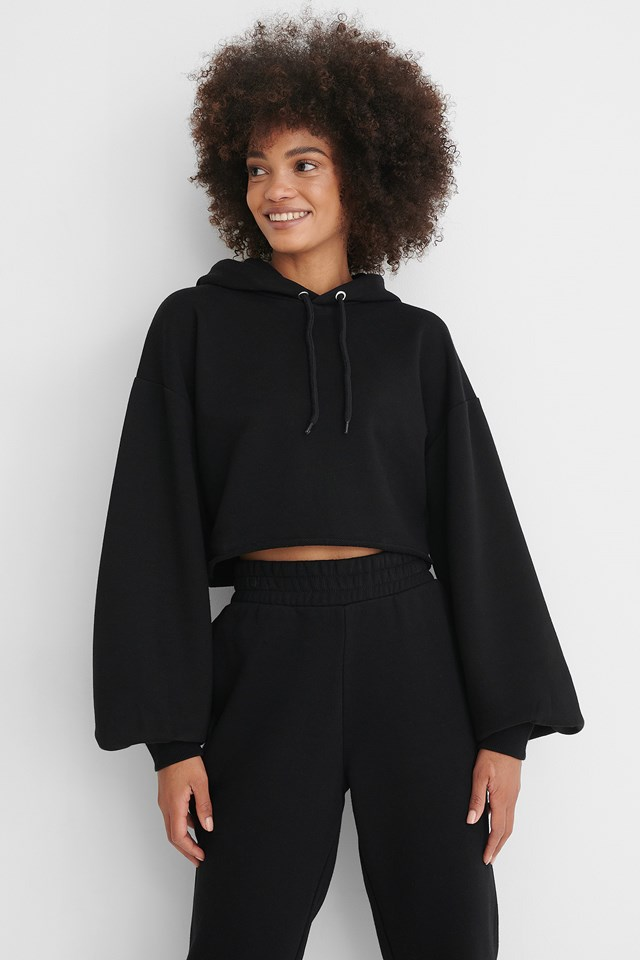 Black Oversized Cropped Hoodie