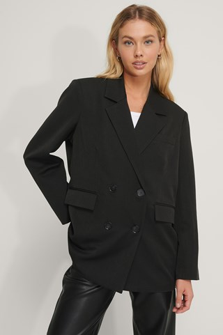 Black Oversized Double Breasted Blazer