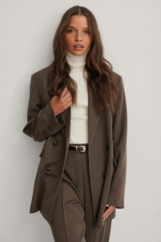 Oversized Double Breasted Blazer Brown