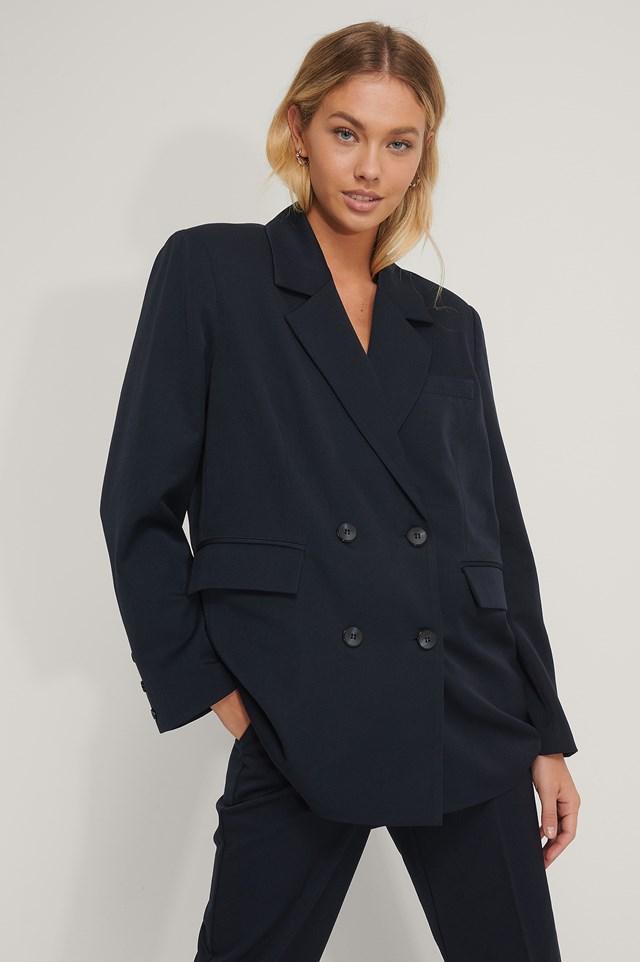 Oversized Double Breasted Blazer Dark Blue
