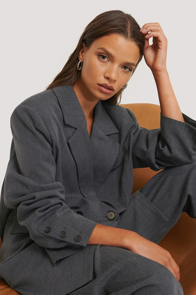 Oversized Double Breasted Blazer Dark Grey