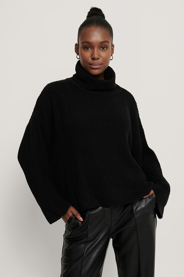Oversized High Neck Knitted Sweater NA-KD