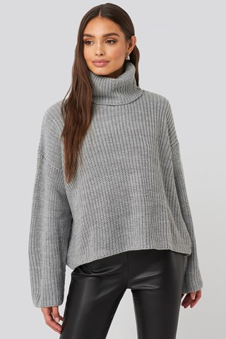 Grey Oversized High Neck Knitted Sweater