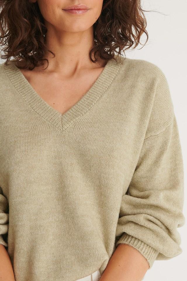 Dusty Light Green Oversized Knitted Sweater