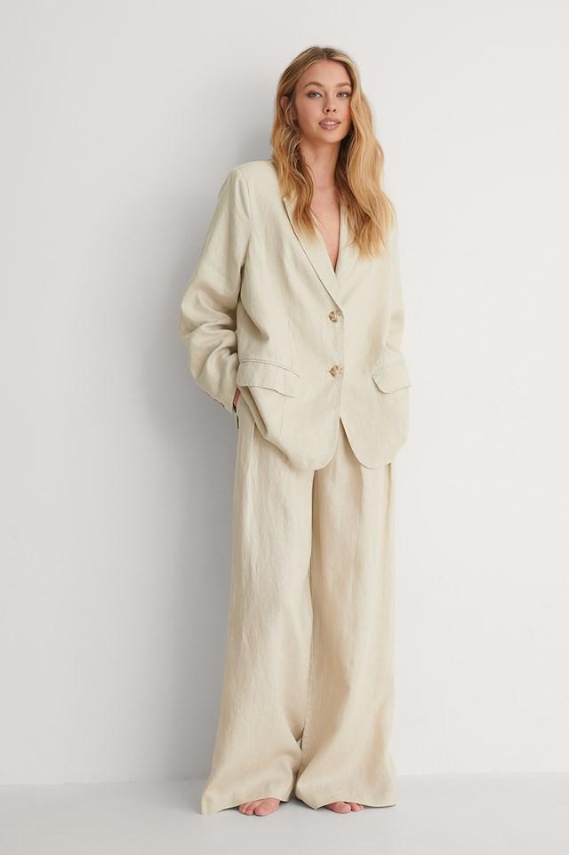 Light Grey Oversized Linen Blazer