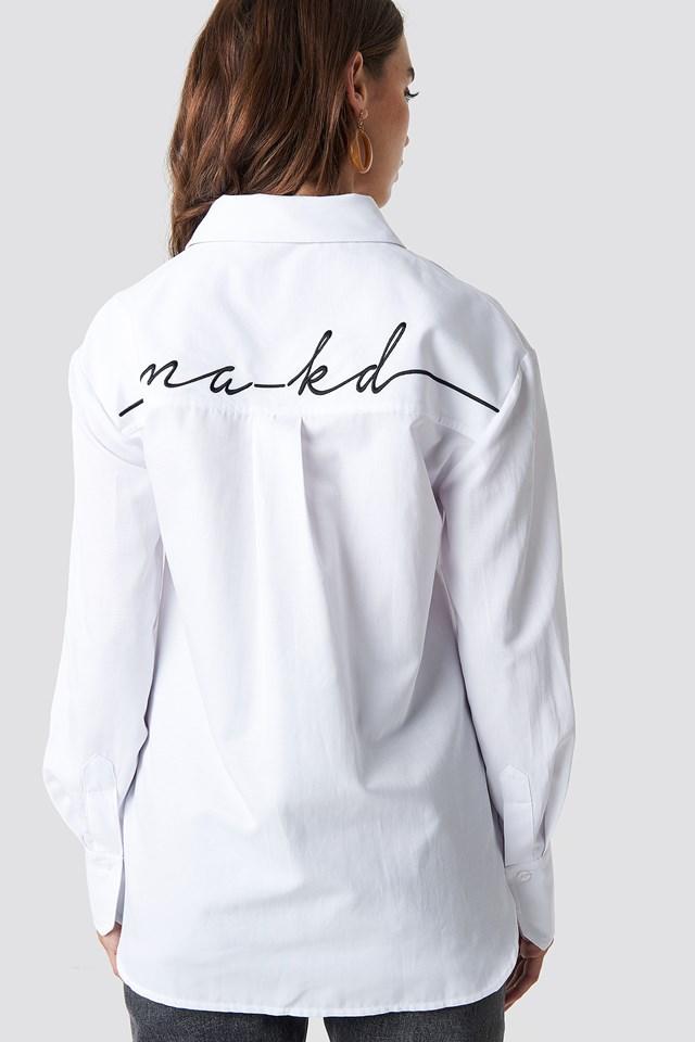 Oversized Logo Embroidery Shirt NA-KD