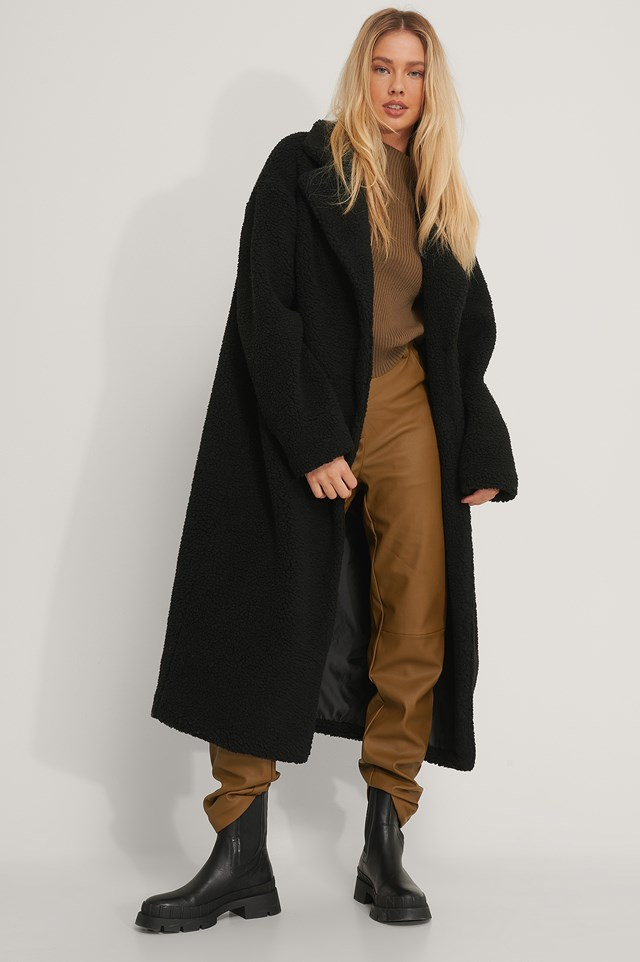 Oversized Long Teddy Coat Black