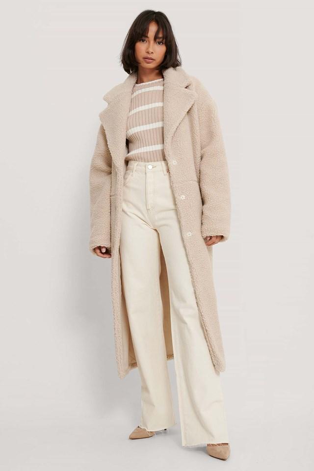 Oversized Long Teddy Coat Light Beige