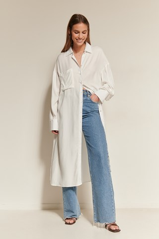 Offwhite Oversized Midi Length Shirt