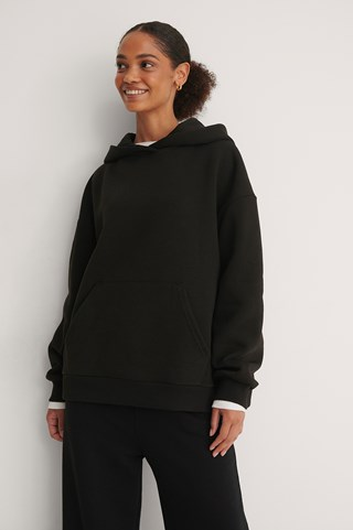 Black Oversized Pocket Hoodie