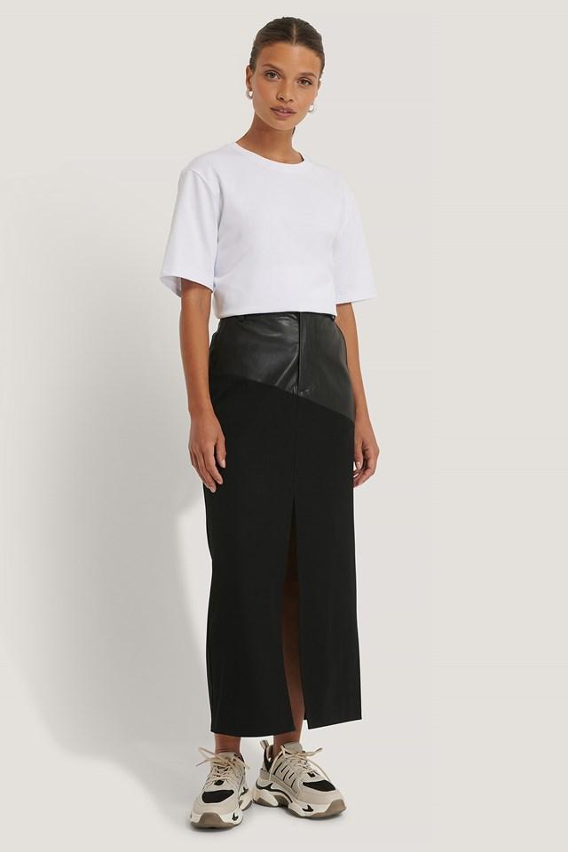 PU Detail Midi Skirt Black