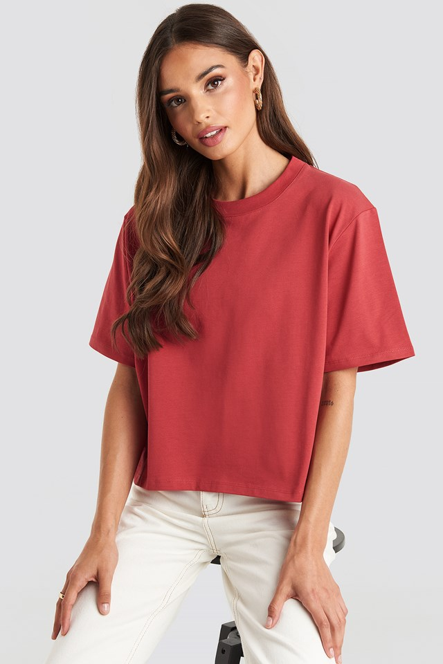 Oversized Short Tee Washed Red
