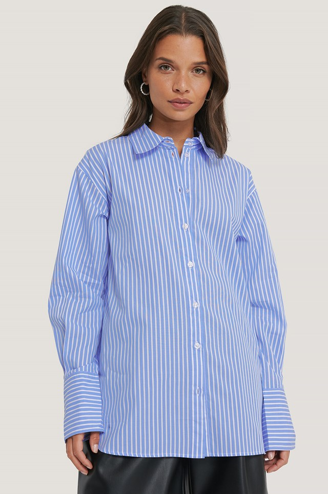 Oversized Striped Shirt Light Blue/White Stripe