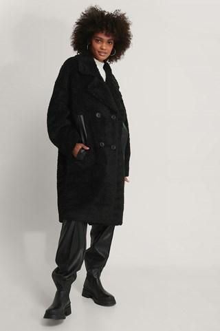 Black Oversized Teddy Pu Detail Coat