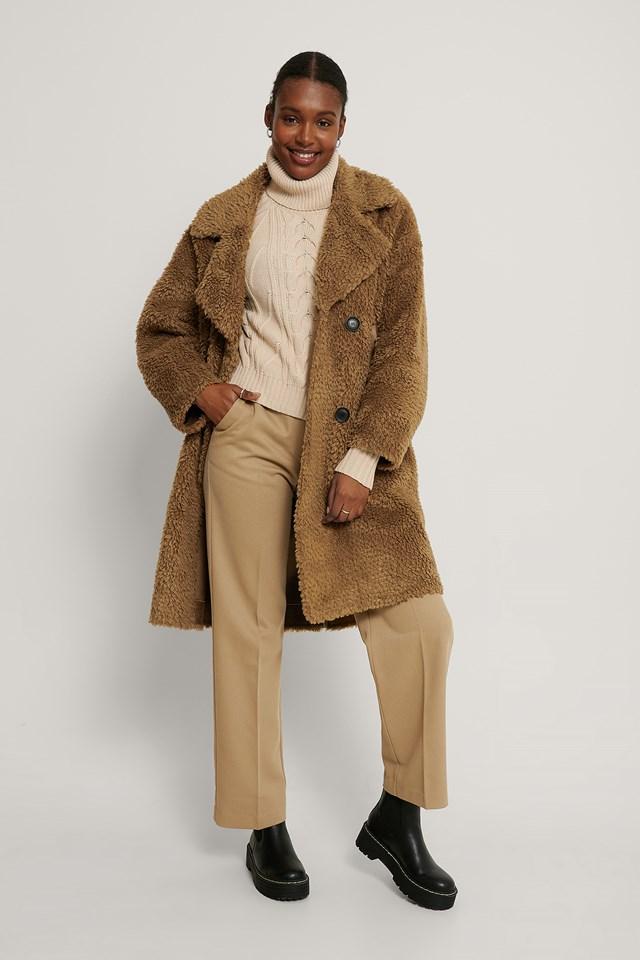 Brown Oversized Teddy Pu Detail Coat