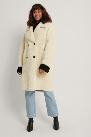 Offwhite Oversized Teddy Pu Detail Coat