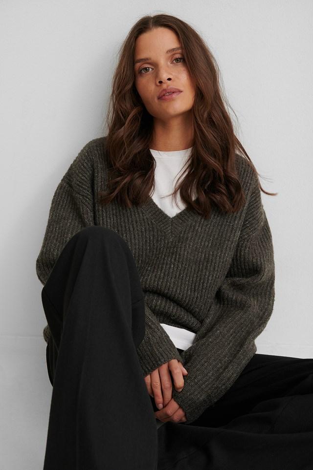 Oversized V-neckline Sweater Dark Grey
