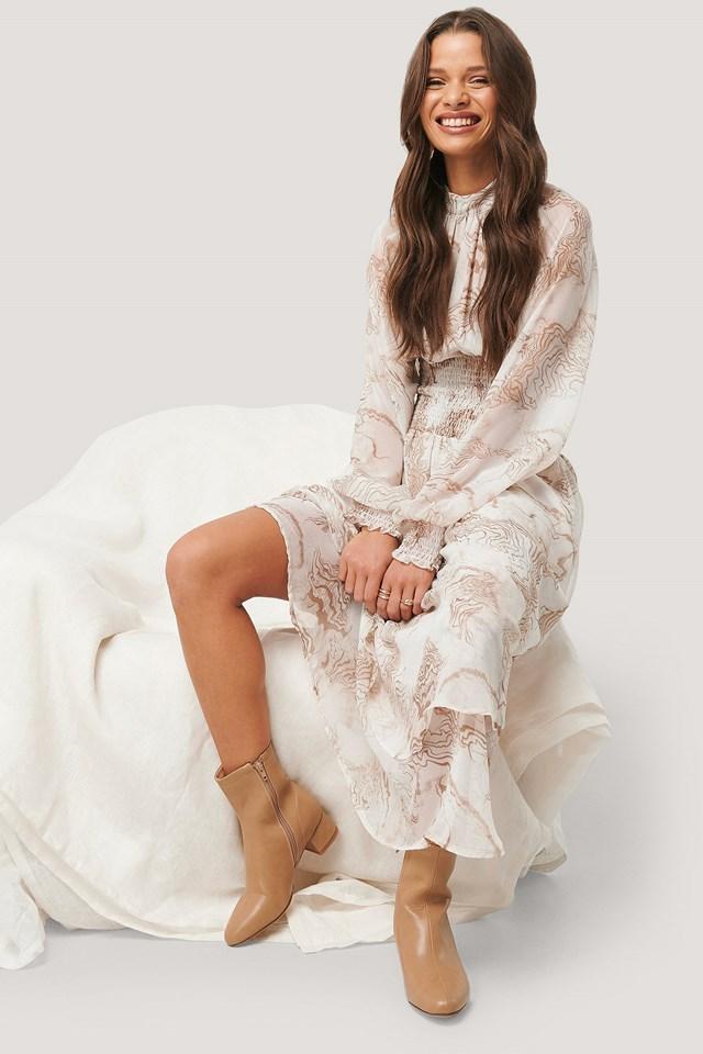 Smocked Waist Midi Dress Beige Print