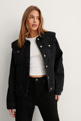 Black Stone Wash Padded Shoulder Denim Jacket