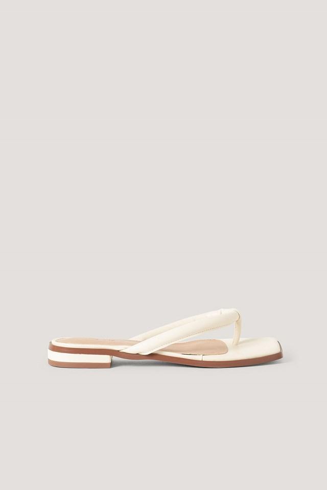 Padded Strap Flip Flops Cream