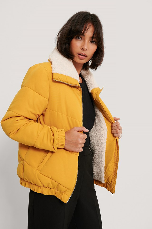 Padded Teddy Detail Jacket Yellow