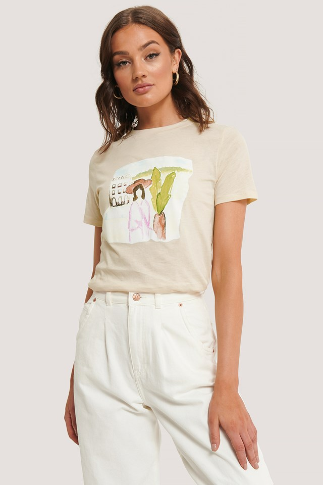 Palm Tree Watercolor Tee Off White