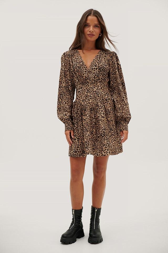 Waist Detail V-neck Dress Leopard