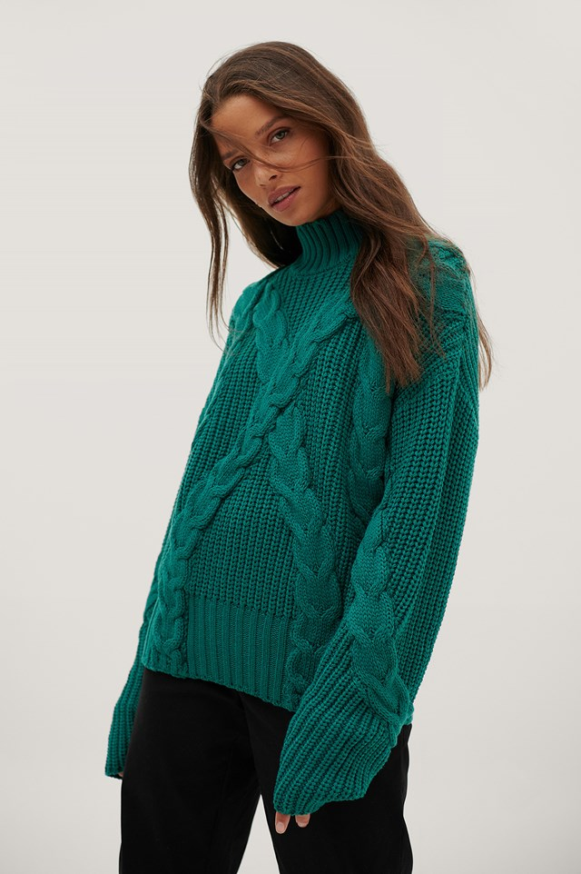 Oversized Cable Sweater Emerald