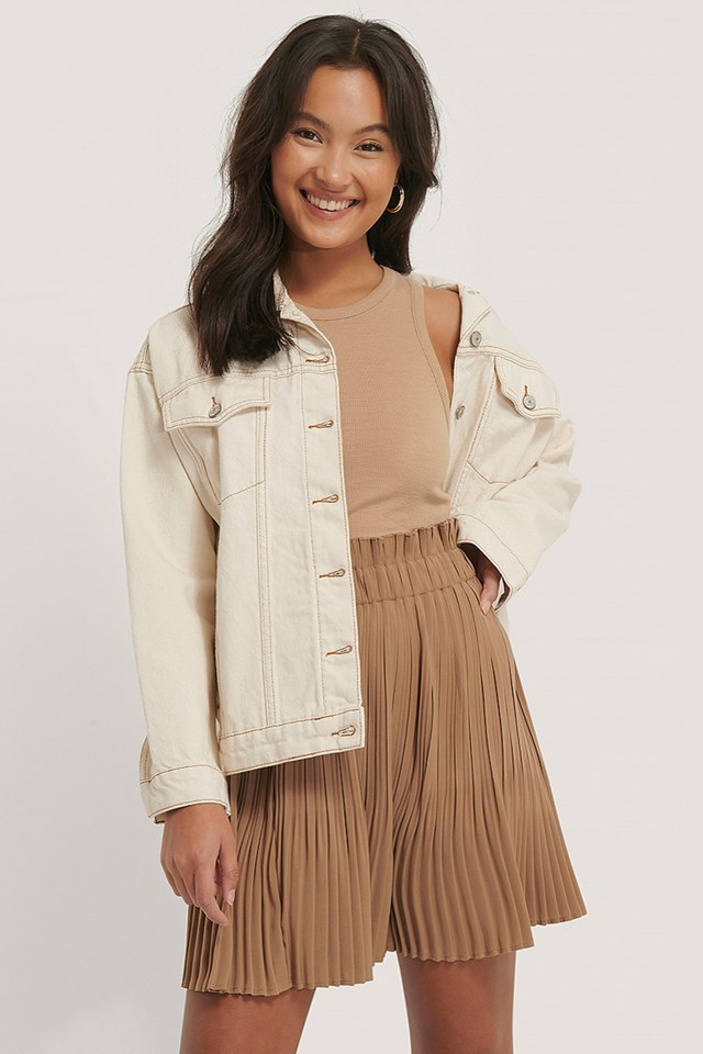 Paper Waist Mini Skirt Beige