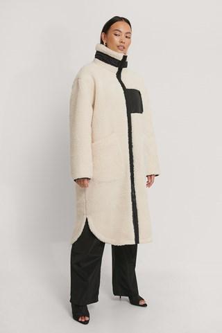 White Patch Pocket Teddy Coat