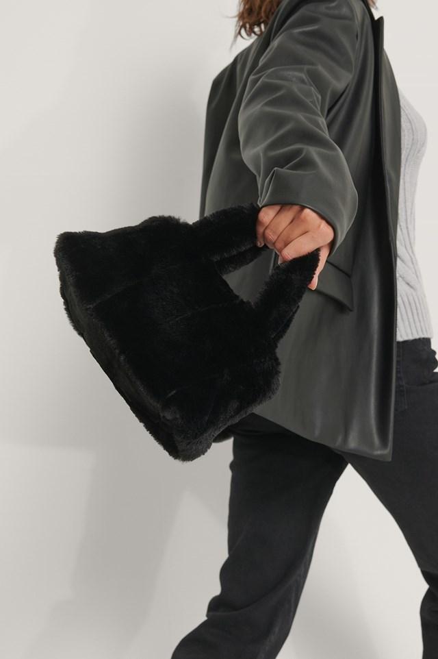 Patched Fluff Handbag Black