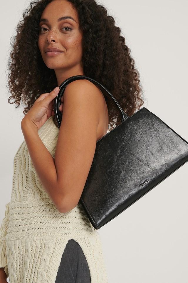 Patent Top Handle Bag Black
