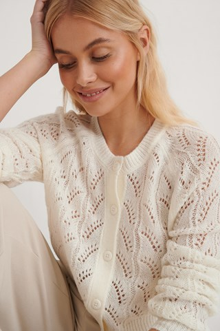 White Pattern Knitted Cropped Cardigan