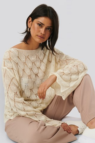Offwhite Pattern Knitted Long Sleeve Sweater