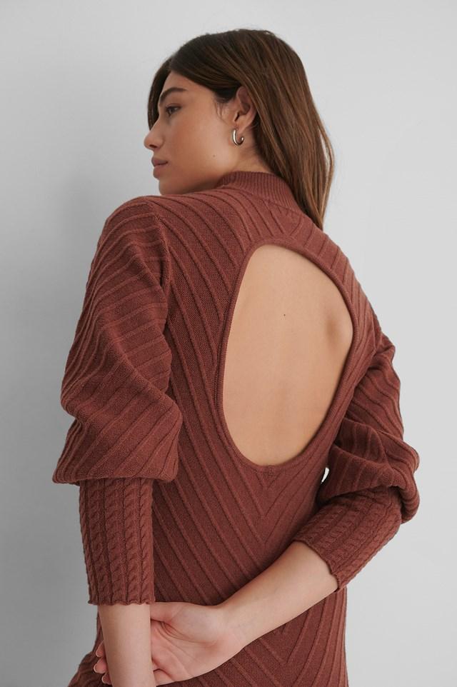Pattern Knitted Open Back Dress Rust