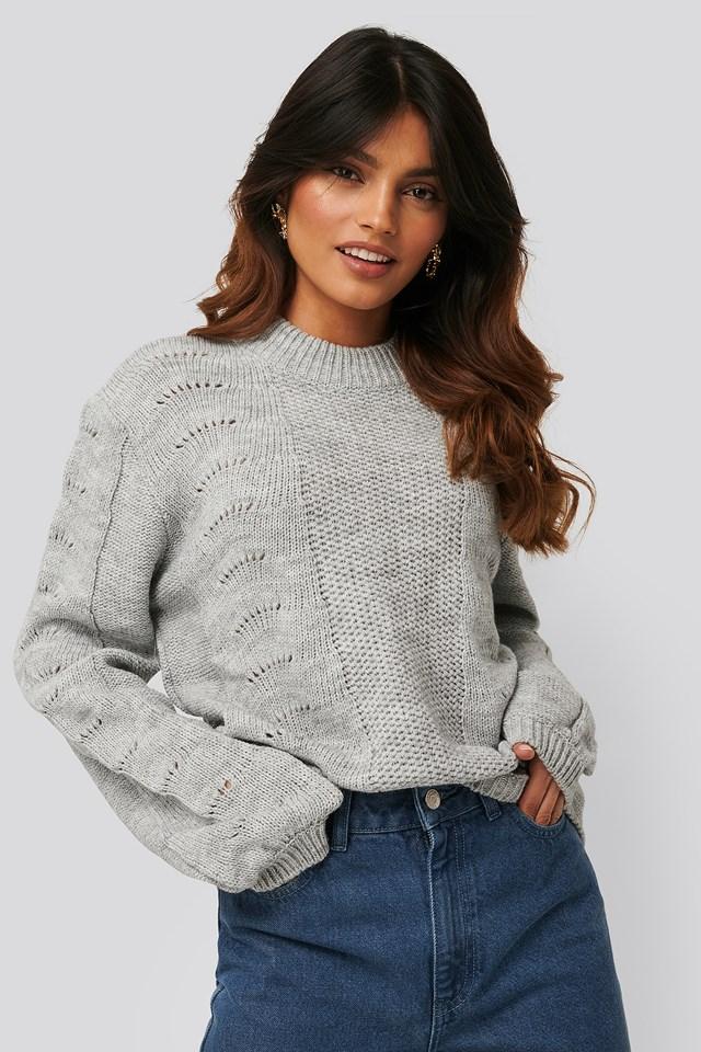 Pattern Knitted Round Neck Sweater Grey