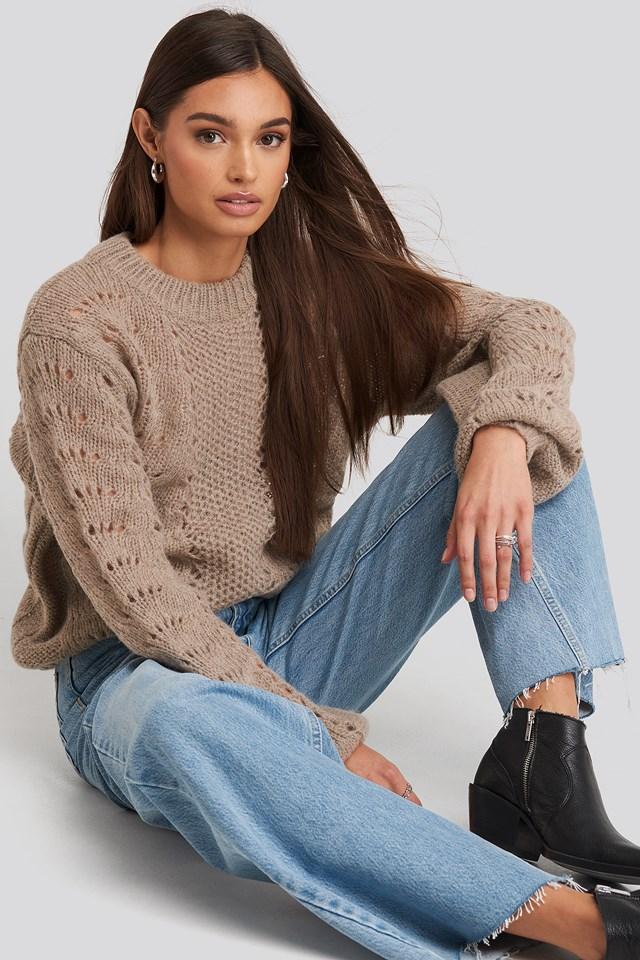Pattern Knitted Round Neck Sweater NA-KD
