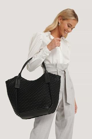 Black Pattern Embossed Shopper Bag