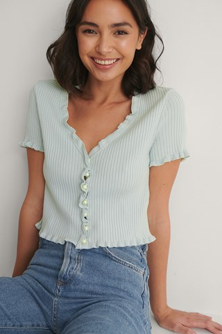 Light Blue Pearl Detail Knitted Short Sleeve Cardigan