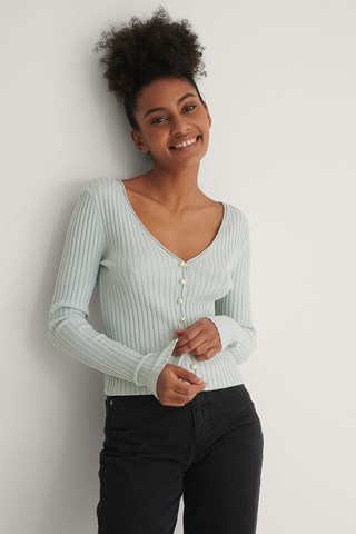 Light Blue Pearl Detailed Knitted Cardigan