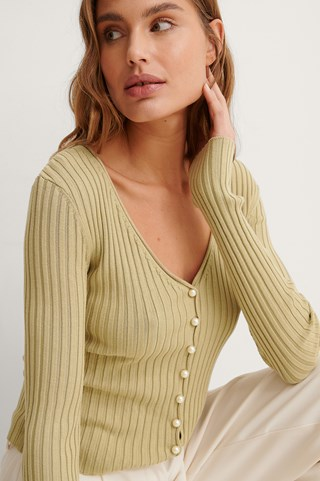 Pale Olive Pearl Detailed Knitted Cardigan