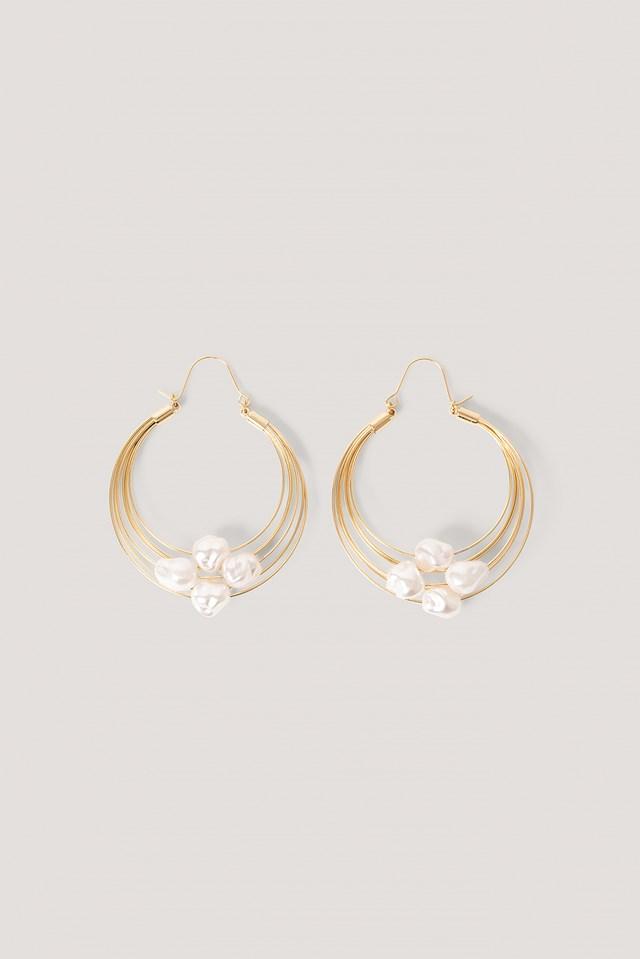 Pearl Detailed Wire Hoop Earrings Gold