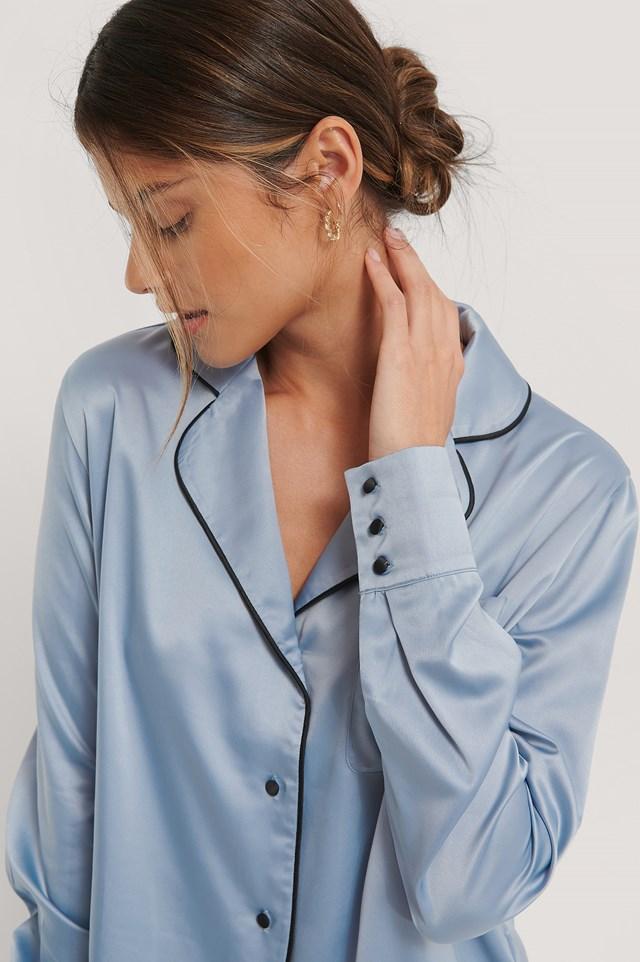Piping Detail Night Shirt Blue